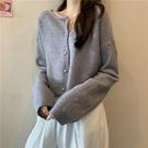 外套 2021新款洋氣長袖小開衫外套女慵懶風短款針織衫薄款毛衣上衣外穿【快速出貨八折下殺】