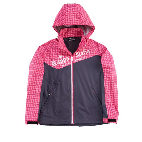 KAPPA義大利 女吸濕排汗速乾雙層風衣外套(可拆帽)~深灰 櫻桃紅