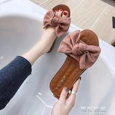 夏季韓版百搭平底蝴蝶結人字拖鞋女時尚外穿夾腳沙灘涼鞋 可可鞋櫃
