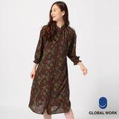 GLOBAL WORK女雪紡碎花圖騰八分袖連身裙罩衫與連身背心二件組-四色