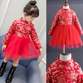長袖洋裝 新年款加絨旗袍中國風印金連衣裙 W77008 AIB小舖
