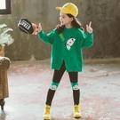 女童休閒秋裝連帽T恤兩件套個性潮衣4五5六七11歲學生潮網紅初秋套裝  歐韓時代