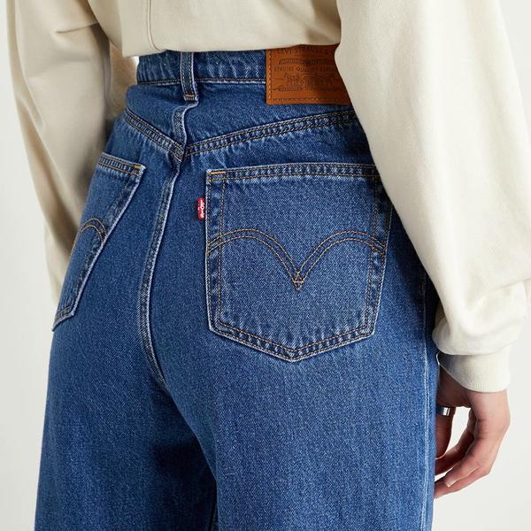 Levis 女款 High Loose 復古超高腰牛仔寬褲 / 中藍基本款 / 寒麻纖維 / 形象款