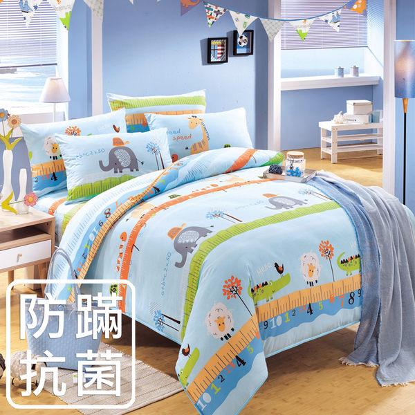 床包組/防蹣抗菌-單人精梳棉兩用被床包組/動物農場藍/美國棉授權品牌[鴻宇]台灣製-2007