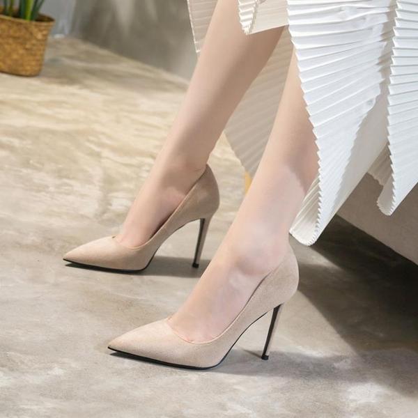 高跟鞋高跟鞋女細跟10cm尖頭法式學生百搭性感裸色網紅春款單鞋聖誕交換禮物