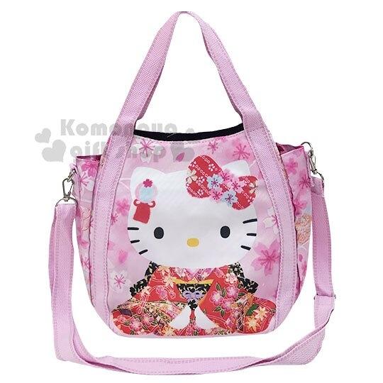 〔小禮堂〕Hello Kitty 帆布托特包斜背包《粉.和服》手提袋.側背袋 4582135-12906
