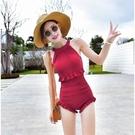 連身泳裝 2020韓版東大門溫泉女保守連體.遮肚顯瘦平角游性感.學生風泳裝