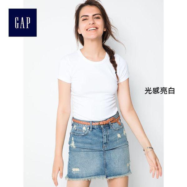 Gap女裝 莫代爾休閒基本款修身短袖T恤 241902