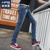 男士修身牛仔褲夏季男士牛仔褲男修身小腳褲韓版直筒寬鬆男褲潮流淺色休閒薄褲子 至簡元素