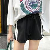 拼接休閒運動短褲高腰寬鬆顯瘦繫帶闊腿熱褲女學生潮 【好康八八折】