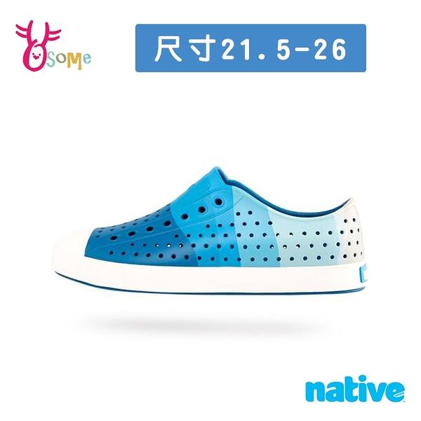 native水鞋 JEFFERSON PRINT 奶油頭 洞洞鞋 休閒鞋 懶人鞋 透氣防水 M9417#白藍