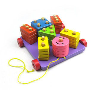 心情套柱車 幾何形狀拖拉玩具 對位智力益智木制玩具
