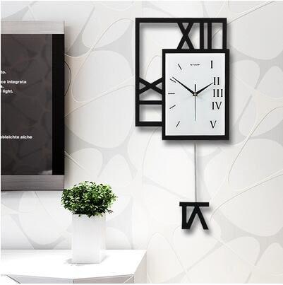 鐘錶掛鐘客廳現代簡約創意靜音搖擺掛錶簡歐個性臥室北歐石英時鐘