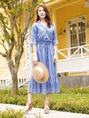 單一優惠價[H2O]夏日渡假風棉蕾絲前交叉設計下襬波浪長洋裝 - 深藍/白/淺藍色 #9674014