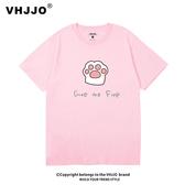 夏裝潮牌可愛卡通粉色貓爪短袖T恤寬松大碼ins情侶裝學生裝