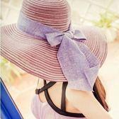 夏季遮陽防曬帽蝴蝶結大檐草帽可折疊沙灘帽m15
