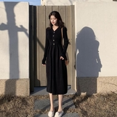 秋裝2019年新款收腰顯瘦V領復古針織連身裙女秋季中長款過膝長裙