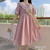 短袖洋裝 夏季2021新款學院風收腰顯瘦蝴蝶結學生可愛減齡短袖連身裙女裙子