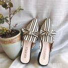 粗跟拖鞋 包頭涼拖鞋女外穿春夏新款方頭韓版粗跟蝴蝶結百搭懶人半拖鞋 星河光年