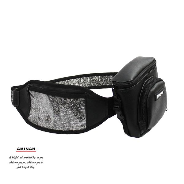 防割腰帶式背包-黑灰色 AMINAH~【Anti-Cut-03】