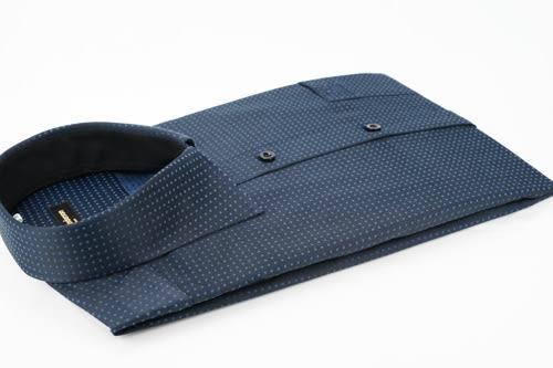【金‧安德森】黑底黑內領方點窄版長袖襯衫
