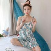 吊帶睡裙女夏季性感純棉睡衣女夏天無袖加大呎碼寬鬆冰絲正韓家居服 生日禮物 創意