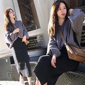 漂亮小媽咪 韓系 實拍 孕婦 半身裙 【S5342】坑條 針織 開岔 長裙 秋冬 針織裙 包臀裙