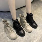 快速出貨 短靴 加絨刷毛馬丁靴女英倫風 百搭黑色小短靴女厚底增高靴子