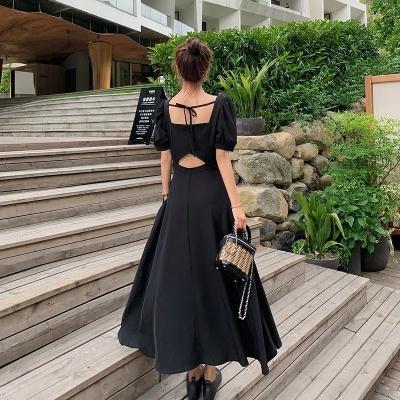 洋裝~赫本風法式連身裙女收腰顯瘦氣質小心機露背黑色長裙子2F054-D胖妞衣櫥