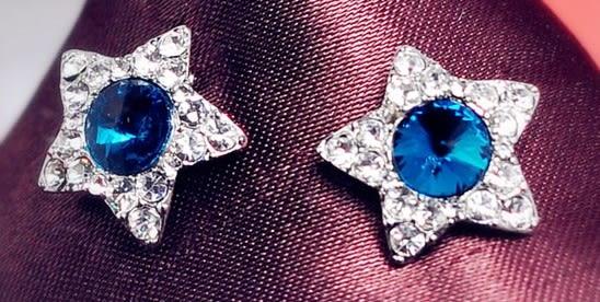 [協貿國際]  韓版高檔滿鑽星星耳釘耳環 (5個價)