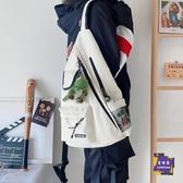後背包 原宿街頭機能工裝斜背包ins日系男港風復古後背包大容量學生書包 外出必備
