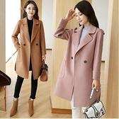現貨M韓版外套大衣開衫M-3XL秋季毛呢外套中長款寬鬆顯瘦呢子大衣H455-7006.