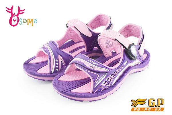 GP涼鞋 中大童 磁扣兩穿防水涼鞋 足弓款 I6705#紫色◆OSOME奧森童鞋