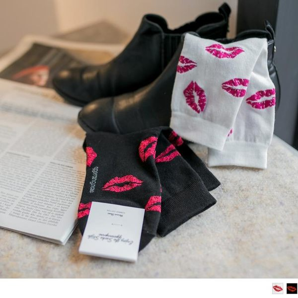 《ZB0480》韓國給我一個KISSY唇印圖襪 OrangeBear