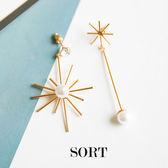 耳環 韓國簡約太陽花朵珍珠流蘇不對稱垂墜式耳環【1DDE0525】