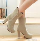 2020新款女士高跟短靴馬丁靴女靴粗跟長靴女鞋秋冬季中靴腿粗款 依凡卡時尚