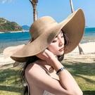 沙灘帽大帽檐 草帽女夏天沙灘海邊出游遮陽大帽檐韓版百搭涼帽夏季防曬太陽帽子 歐歐