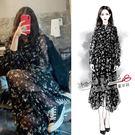 洋裝-歐陽娜娜同款黑色碎花雪紡洋裝超仙中...