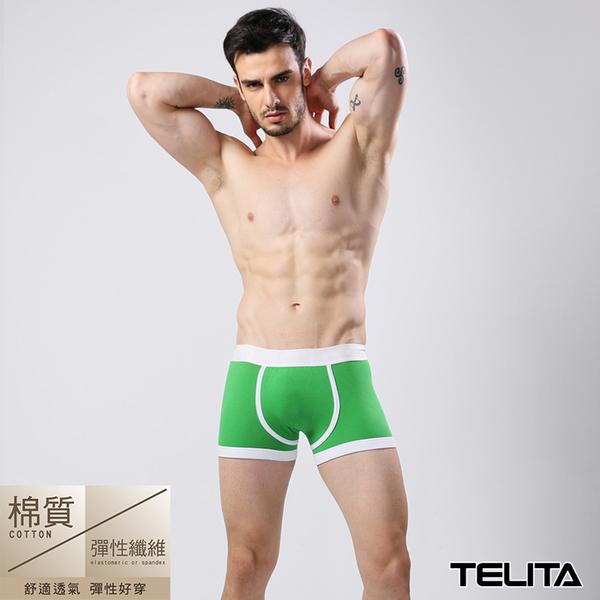 男內褲【TELITA】潮流個性運動平口褲 四角褲 青蘋綠