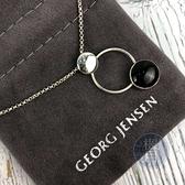 BRAND楓月 GEORG JENSEN 喬治傑森 黑雙園項鍊 綴飾 墜鍊 首飾 925純銀 銀飾 銀鍊 配飾 配件