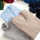 針織衫毛衣男羊絨衫男士V領大碼寬鬆秋冬季 裝圓領加厚針織羊毛衫毛衣