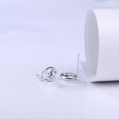 耳環 925純銀鑲鑽-精緻大方生日七夕情人節禮物女飾品73hk39【時尚巴黎】