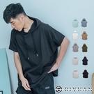 飛鼠衣 短袖帽T【OBIYUAN】 寬鬆衣服 下擺圓弧 短袖T恤 情侶款上衣 【SP1780】