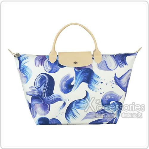 LONGCHAMP SPLASH水花圖案棉質帆布短提把手提包(中/藍)