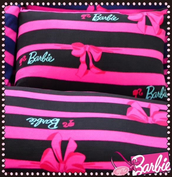 【Barbie】蝴蝶結物語-雪芙絨加大雙人床包被套四件組《Ribbon Bow《星空黑》》