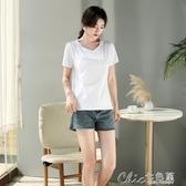 短袖T恤 白色t恤女短袖寬鬆V領2020打底衫女黑色雞心領夏裝純棉上衣丅 【快速出貨】