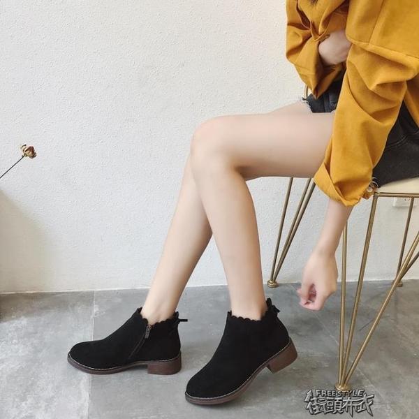 馬丁靴女英倫風學生短靴正韓版百搭粗跟機車復古騎士靴女 街頭布衣