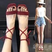 高跟鞋粗跟涼鞋女鞋綁帶夏季新款方頭羅馬鞋韓版時尚一字露趾 小時光生活館