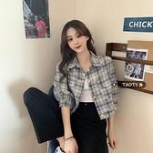 春季2021新款韓版復古薄款格子短款外套女百搭寬鬆工裝夾克ins潮0 幸福第一站