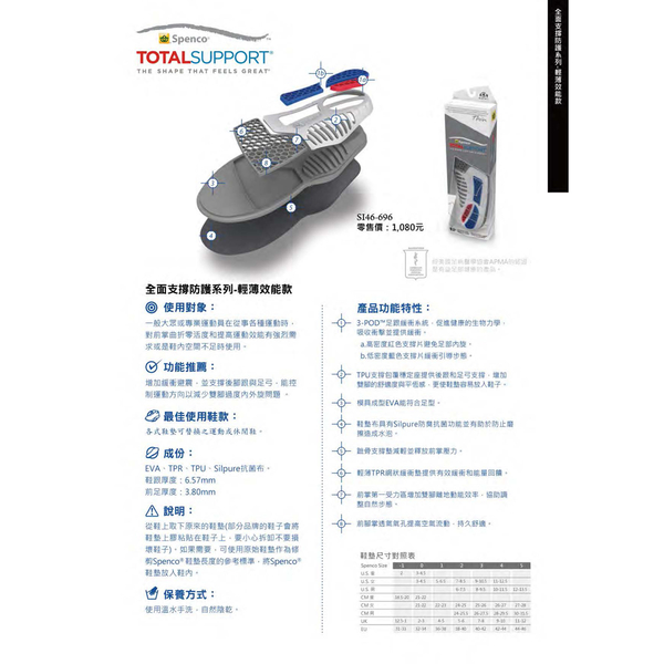 《Spenco》全面支撐防護系列 輕量足弓支撐款 Total Support® Thin SI46-696